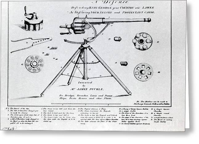 Artillery Gun Greeting Cards - Puckle Defence Gun Patent, 1718 Greeting Card by Science Source
