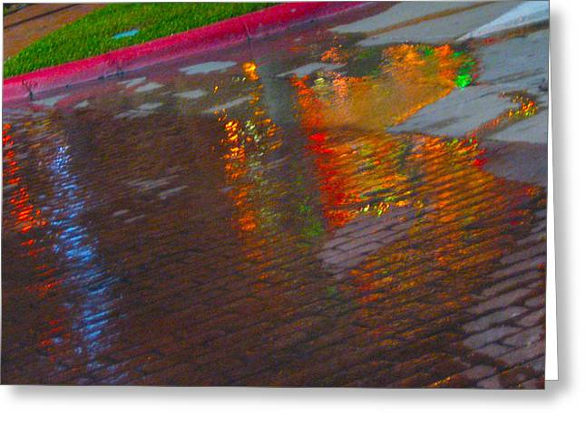 Raining Greeting Cards - Puddle Art Paved Greeting Card by ARTography by Pamela  Smale Williams