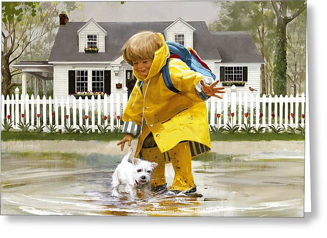 Westie Puppies Greeting Cards - Puddles and Splashes Greeting Card by Donald Zolan