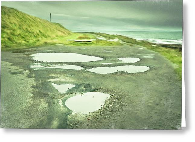 Seaside Art Greeting Cards - Puddles Greeting Card by Tom Gowanlock