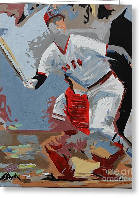 Red Sox Paintings Greeting Cards - Pudge  Carlton Fisk Greeting Card by Steven Dopka