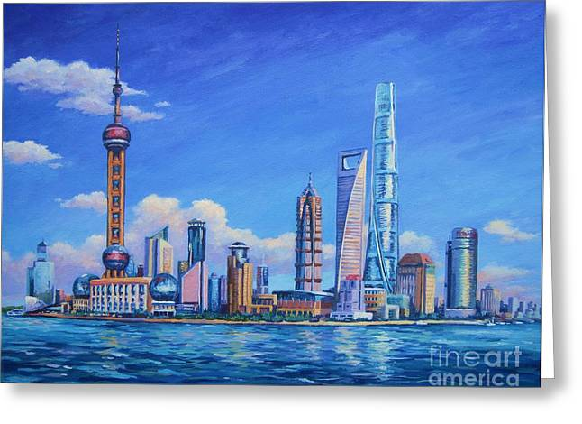 Pudong Greeting Cards - Pudong Skyline  Shanghai Greeting Card by John Clark