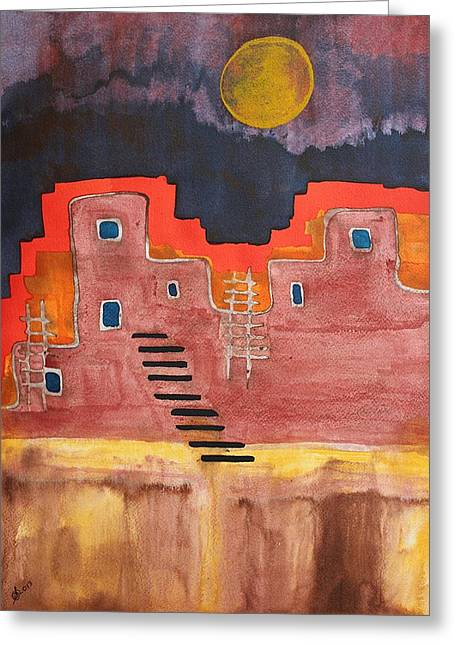 Pen And Paper Greeting Cards - Pueblito original painting Greeting Card by Sol Luckman