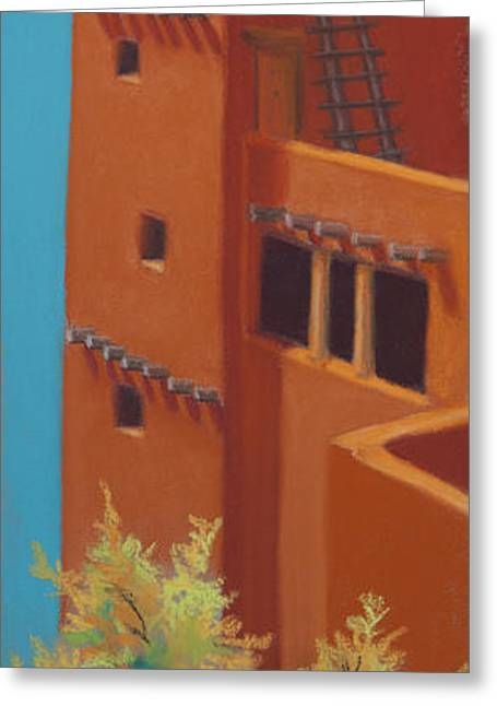Christianity Pastels Greeting Cards - Pueblo Autumn Greeting Card by Tracy L Teeter