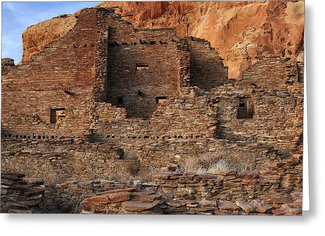 Chaco Canyon Greeting Cards - Pueblo Bonito Greeting Card by Allen W Sanders