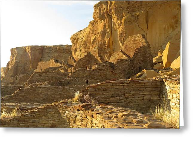 Pueblo Bonito and cliff Greeting Card by Feva  Fotos