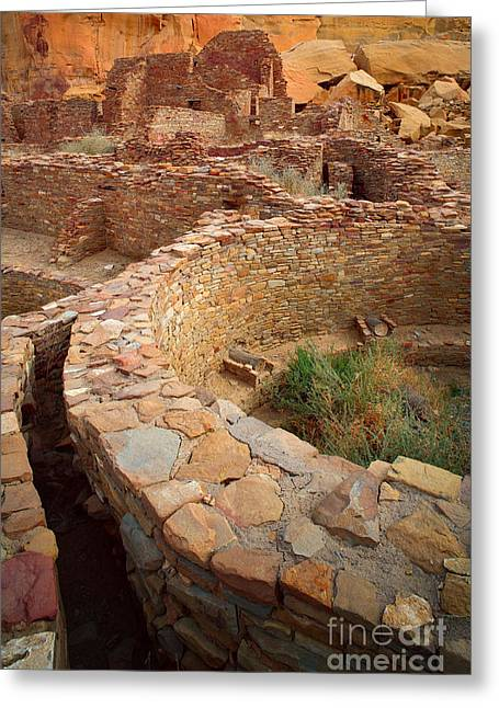 Chaco Canyon Greeting Cards - Pueblo Bonito Greeting Card by Inge Johnsson