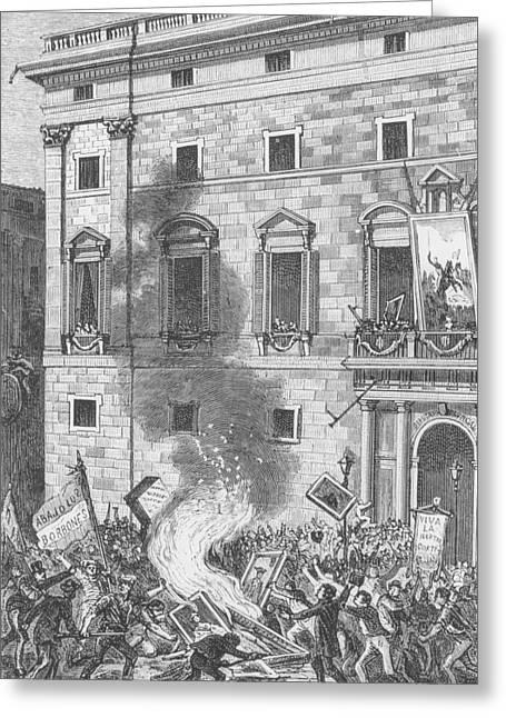 Mob Greeting Cards - Pueblo De Barcelona Quemando Retratos De Los Borbones, 1868 Engraving Greeting Card by Spanish School