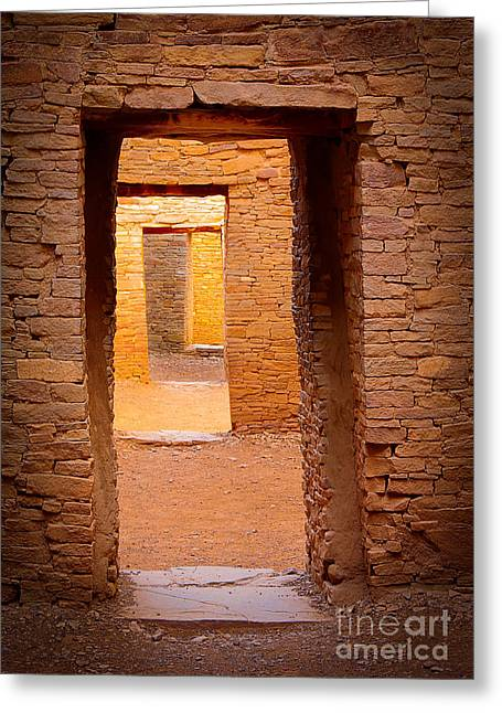 Chaco Canyon Greeting Cards - Pueblo Doorways Greeting Card by Inge Johnsson