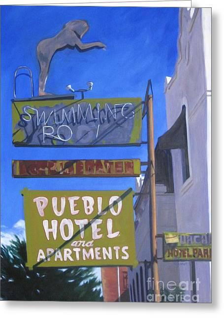 Acylic Greeting Cards - Pueblo Hotel Greeting Card by Katrina West