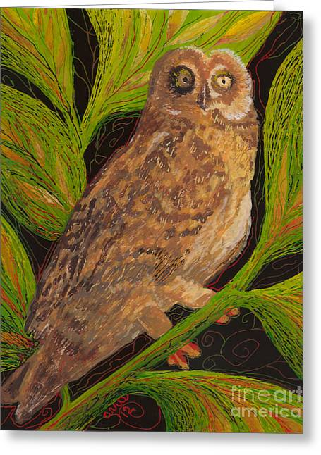 Fauna Glass Art Greeting Cards - Pueo Greeting Card by Anna Skaradzinska