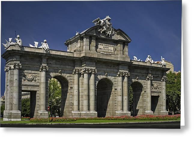 Puerta De Alcala Madrid Spain Greeting Card by Susan Candelario