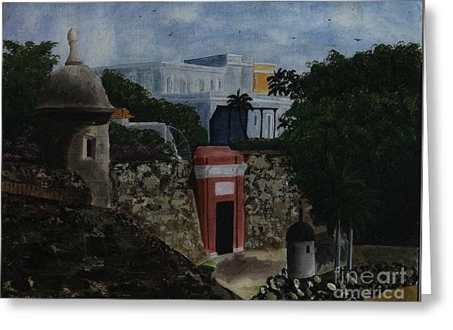 Old San Juan Paintings Greeting Cards - Puerta de San Juan Greeting Card by Karen Ayala