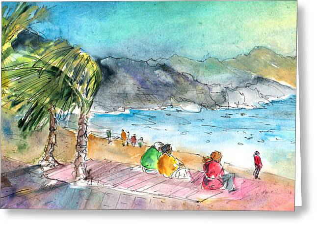 Sand Storm Drawings Greeting Cards - Puerto De Las Nieves 04 Greeting Card by Miki De Goodaboom
