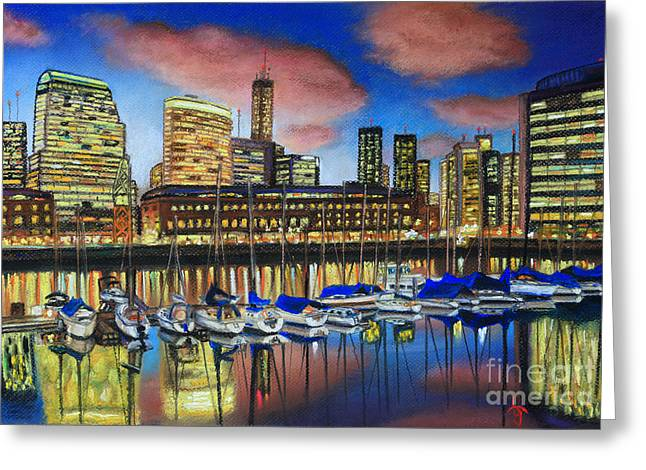 Dock Pastels Greeting Cards - Puerto Madero twilight Greeting Card by Bernardo Galmarini