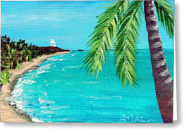 Ocean Landscape Drawings Greeting Cards - Puerto Plata Beach  Greeting Card by Anastasiya Malakhova
