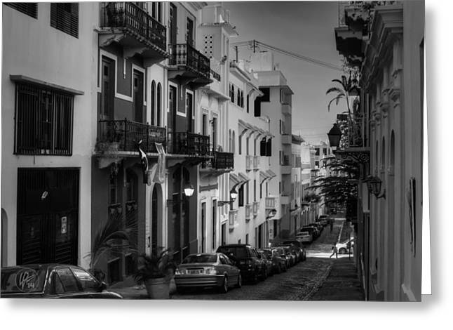 Puerto Rico Greeting Cards - Puerto Rico - Old San Juan 006 BW Greeting Card by Lance Vaughn