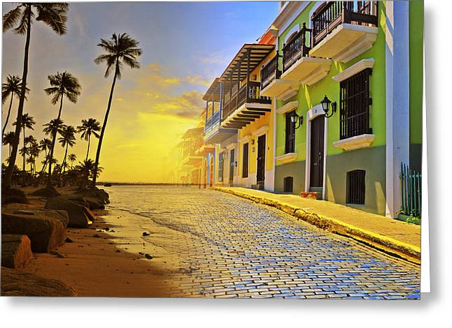 Brick Streets Greeting Cards - Puerto Rico Collage 2 Greeting Card by Stephen Anderson