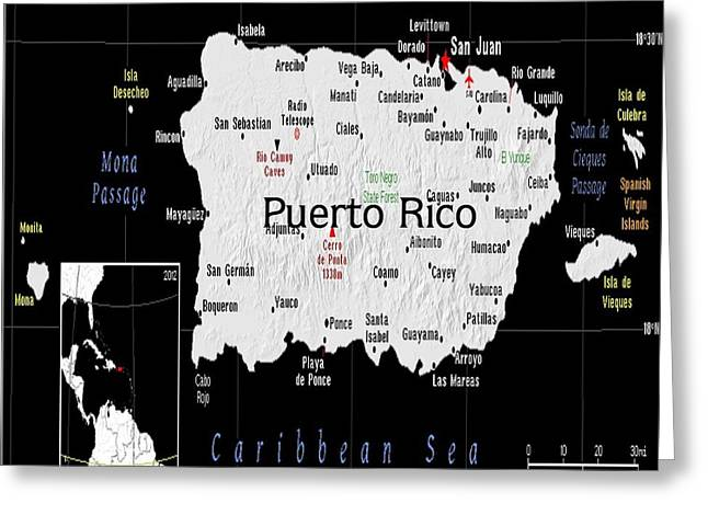 Puerto Rico Mixed Media Greeting Cards - Puerto Rico exotic Map Greeting Card by Florene Welebny