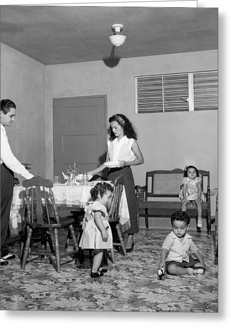 Greater Antilles Greeting Cards - Puerto Rico Family Dinner Greeting Card by Underwood Archives