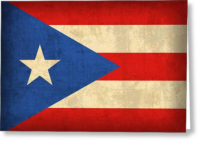 Puerto Rico Greeting Cards - Puerto Rico Flag Vintage Distressed Finish Greeting Card by Design Turnpike