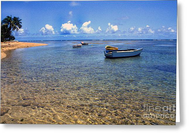 Puerto Rico Greeting Cards - Puerto Rico Luquillo Beach Fishing boats Greeting Card by Thomas R Fletcher
