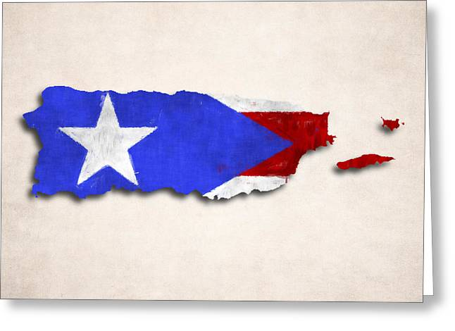 Puerto Rican Greeting Cards - Puerto Rico Map Art with Flag Design Greeting Card by World Art Prints And Designs