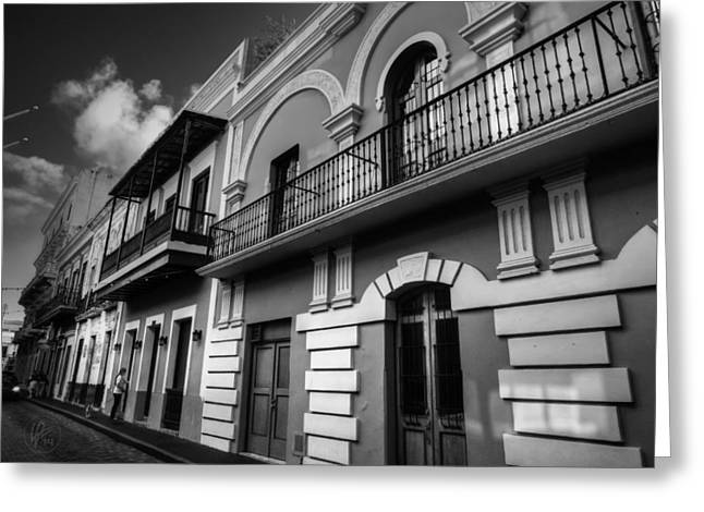 Puerto Rico Greeting Cards - Puerto Rico - Old San Juan 002 BW Greeting Card by Lance Vaughn