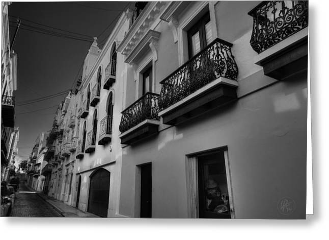 Puerto Rico Greeting Cards - Puerto Rico - Old San Juan 003 BW Greeting Card by Lance Vaughn