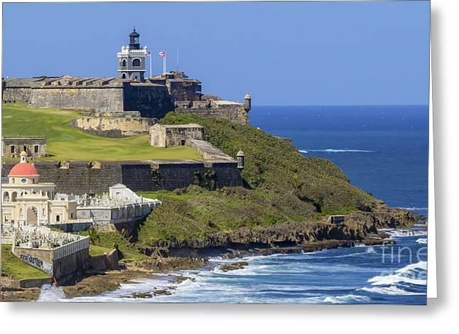 Old San Juan Prints Greeting Cards - Puerto San Juan Light Ocean View Greeting Card by Mary Lou Chmura