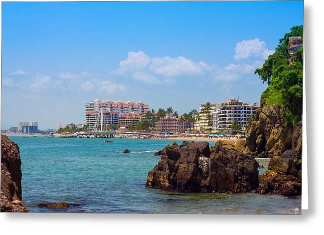 Beach Umbrella Greeting Cards - Puerto Vallarta Greeting Card by Aged Pixel