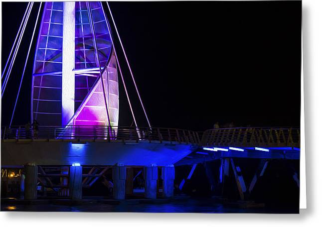 Night Lamp Greeting Cards - Puerto Vallarta Pier Greeting Card by Aged Pixel