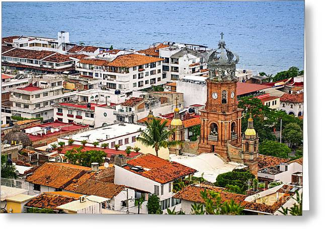 Puerto Vallarta Rooftops Greeting Card by Elena Elisseeva