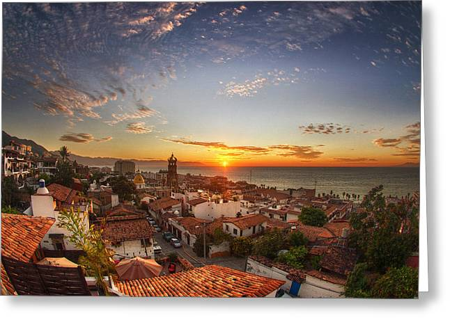 Puerto Vallarta Sunset Greeting Card by Shanti Gilbert