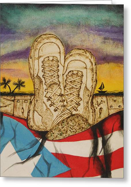 Boots Pyrography Greeting Cards - Puertorrican soldier dream Greeting Card by Andrea Urrego Corredor