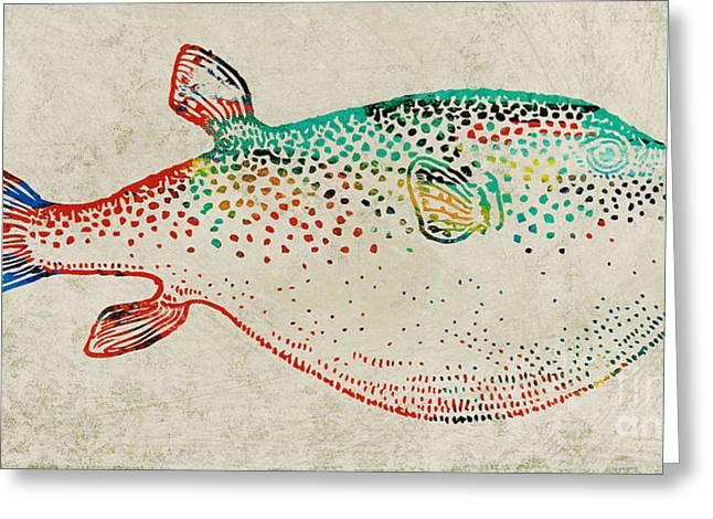 Puffer Fish Digital Greeting Cards - Puffer Fish Greeting Card by Adam Oriti