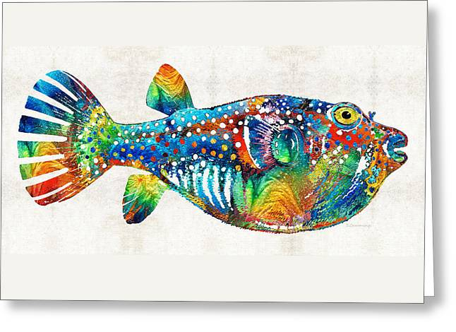 Fishing Art Print Greeting Cards - Puffer Fish Art - Blow Puff - By Sharon Cummings Greeting Card by Sharon Cummings
