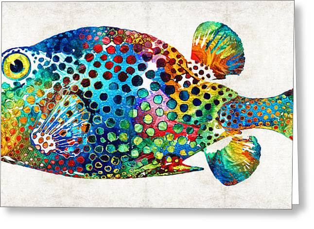 Tropical Fish Greeting Cards - Puffer Fish Art - Puff Love - By Sharon Cummings Greeting Card by Sharon Cummings