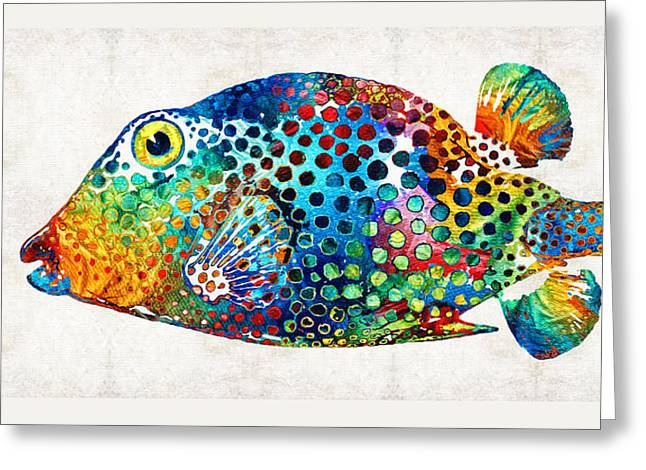 Scuba Diving Paintings Greeting Cards - Puffer Fish Art - Puff Love - By Sharon Cummings Greeting Card by Sharon Cummings