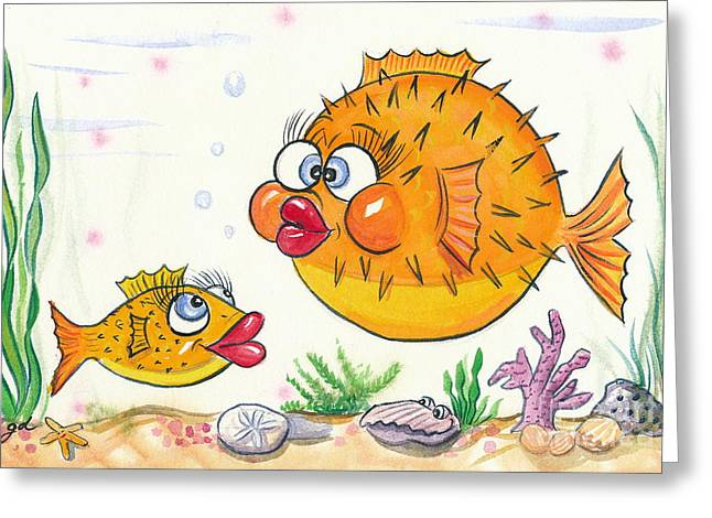 Puffer Greeting Cards - Puffer Fish Greeting Card by Gail Dolphin