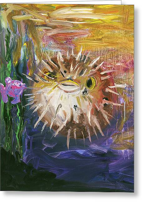 Puffer Greeting Cards - Puffer Fish Greeting Card by Tim Christensen