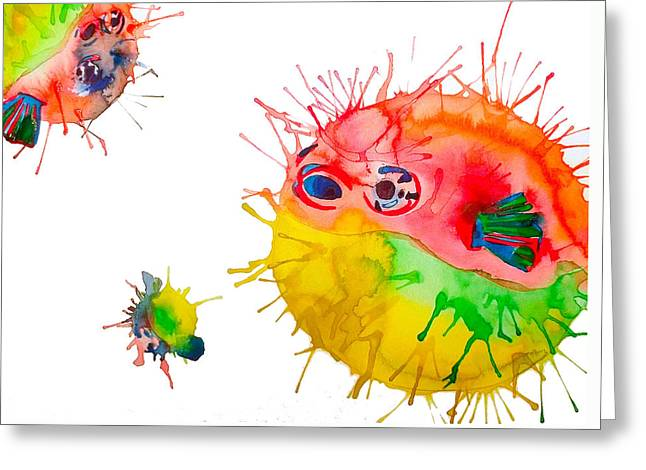 Pufferfish Greeting Card by Lucy Loo Wales