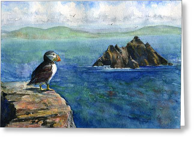 Puffins Greeting Cards - Puffin at Skellig Island Ireland Greeting Card by John D Benson
