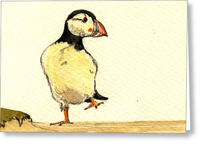 Puffin Bird Greeting Card by Juan  Bosco