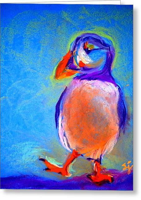 Loose Greeting Cards - Funky Puffin Dancing Greeting Card by Sue Jacobi