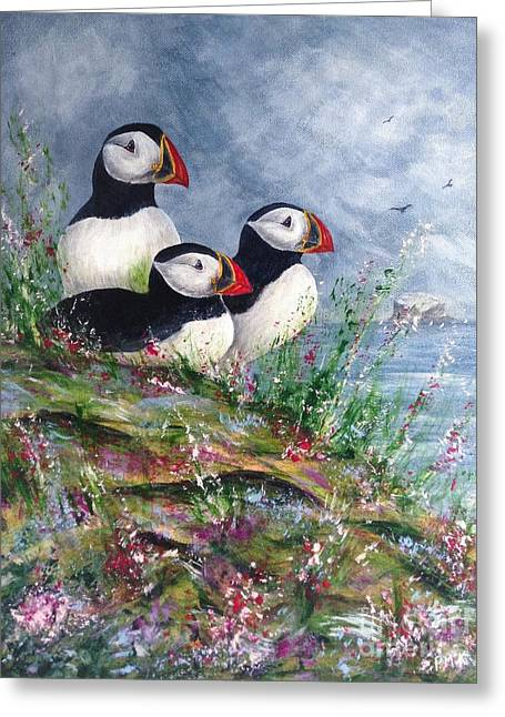 Seabirds Greeting Cards - Puffin Family Looking Out To Sea Greeting Card by Pam Mckenzie