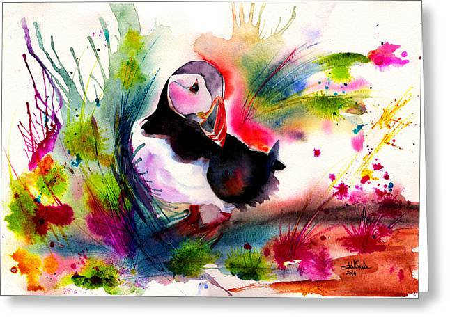 Pacific Ocean Prints Greeting Cards - Puffin Greeting Card by Isabel Salvador