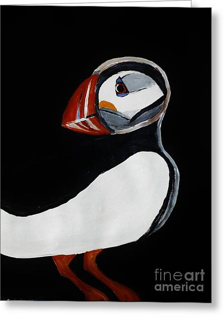Flyer Paintings Greeting Cards - Puffin Greeting Card by Marie Bulger