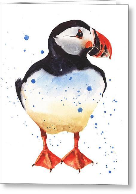 Puffins Greeting Cards - Puffin Watercolor Greeting Card by Alison Fennell