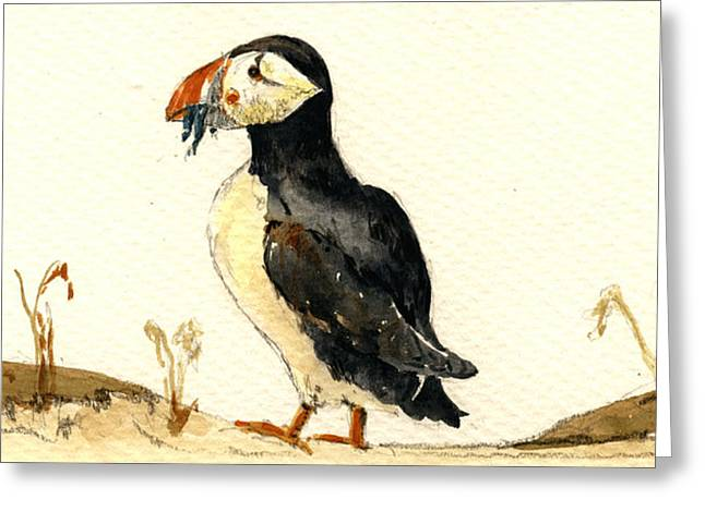 Puffins Greeting Cards - Puffin with fishes Greeting Card by Juan  Bosco